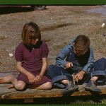 [Boy] building a model airplane [as girl watches], FSA ... camp, Robstown, Tex.